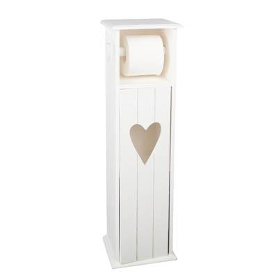 Träskåp Vit Hjärta för Toalettrullar 70cm
