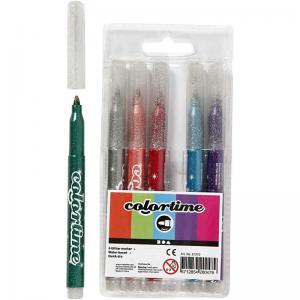 Glittertusch penna 6 färger
