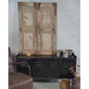 Tv bänk svart plåt med 4st dörrar 115x30x66cm