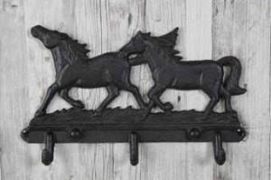Väggkrok trippel häst smide 30x17,5cm