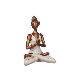 Yoga kvinna H23cm kräm
