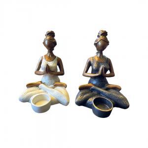 Yoga kvinna ljushållare  H18cm