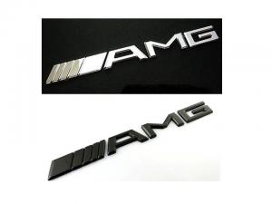 Mercedes Benz AMG logo emblem svart och silver