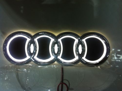 audi led emblem audi logo emblem med 5d belysning som lyser. Black Bedroom Furniture Sets. Home Design Ideas