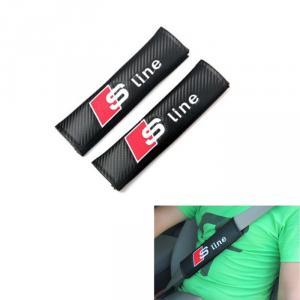 Audi Sline S line loggo bälteskuddar i kolfiber look