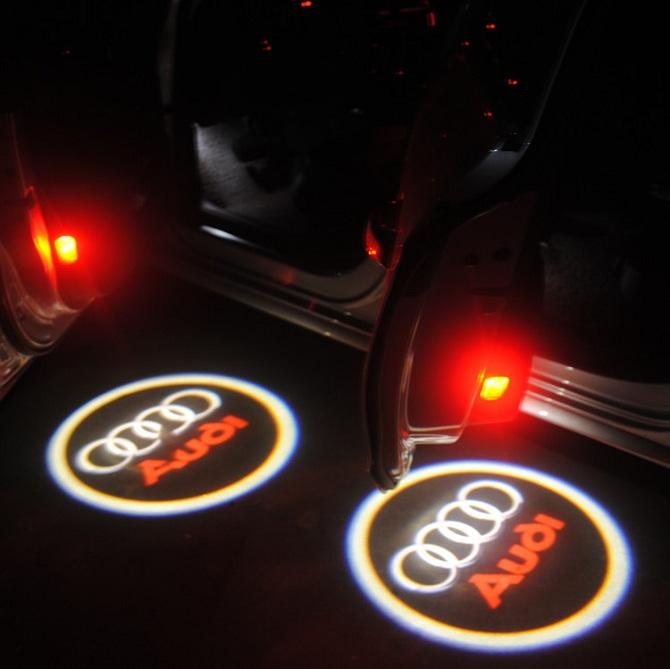 Audi logo dörrbelysning, dörrlampor 2-pack LED