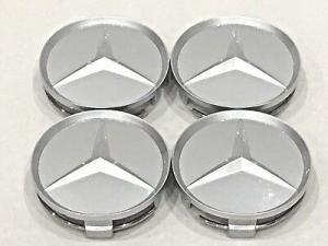 Mercedes centrumkåpor 60, 65 mm i svart / silver
