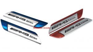 Snygga Mercedes Amg emblem i blå och röd färg