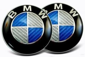 Blå äkta kolfiber emblem till din BMW 73, 82 mm