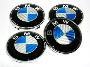 BMW centrumkåpor i äkta blå kolfiber 68 mm