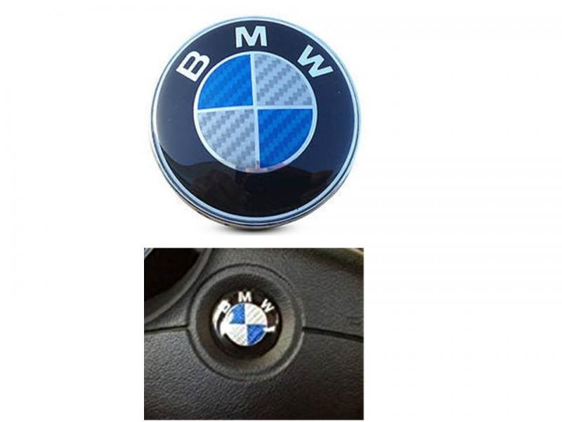 BMW blå kolfiber ratt-emblem 45 mm emblem till ratt