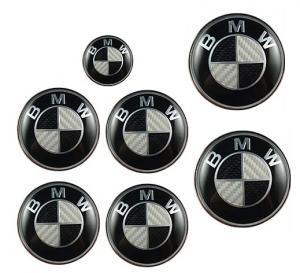 Svart carbon BMW logo kolfiber emblem 7st set