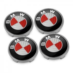 BMW centrumkåpor i röd äkta kolfiber 68 mm