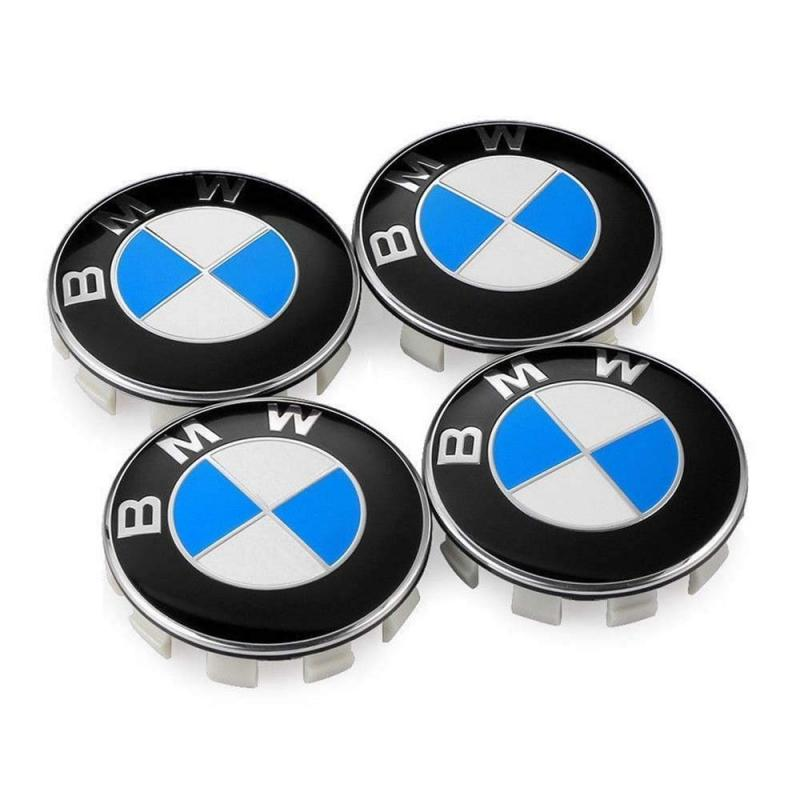 BMW centrumkåpor blåa original fälgkåpor
