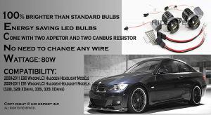 BMW E90 E91 LCI angel eyes LED lampor 80 Watt