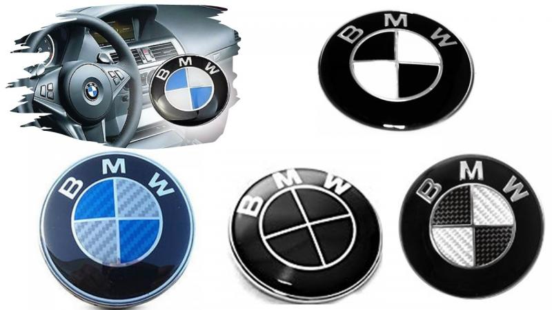 BMW emblem till ratten rattemblem M kolfiber svart blå