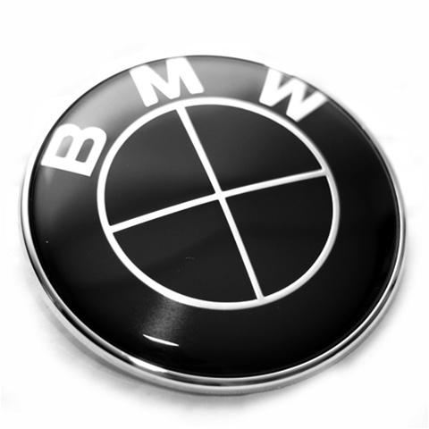 Helsvarta BMW emblem till huv och bagagelucka