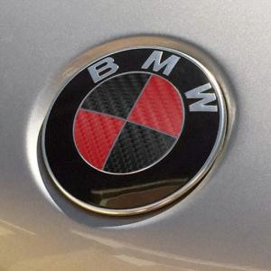 BMW emblem röd svart till huv och bagagelucka