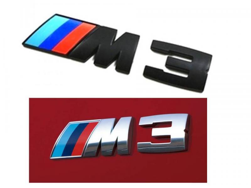 BMW M3 logo emblem i krom och svart till bilen