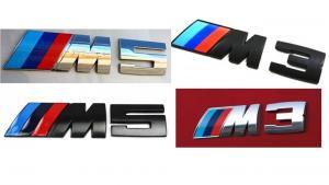 BMW M3, M5 logo emblem i svart och silver färg