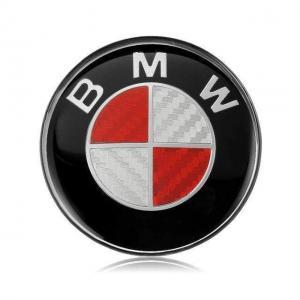 BMW röd kolfiber emblem till ratten 45 mm