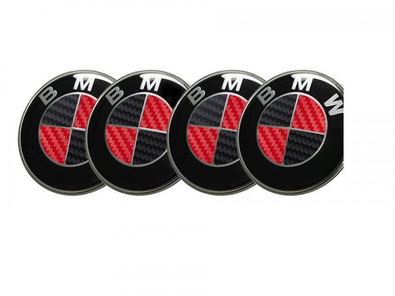 BMW centrumkåpor röd svart kolfiber 68 mm