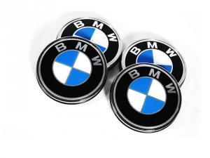 BMW centrumkåpor blåa original fälgkåpor 68mm