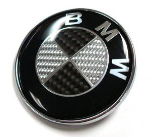 BMW svart carbon kolfiber carbon emblem 73, 78, 82 mm