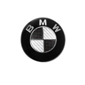 BMW svart kolfiber emblem till ratten 45 mm rattemblem