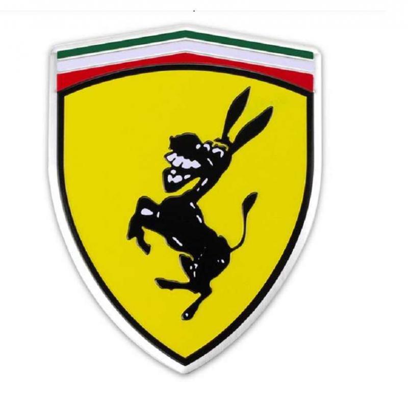 Cool emblem till bilen, föreställer Ferrari med åsna