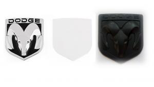 Dodge Mopar emblem i svart och silver 8 cm