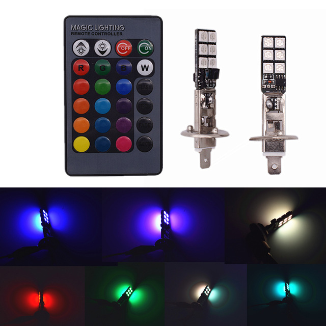 Omtyckta H1 LED RGB lampor lampa till bilen eller MC. Bytt färg med QU-86