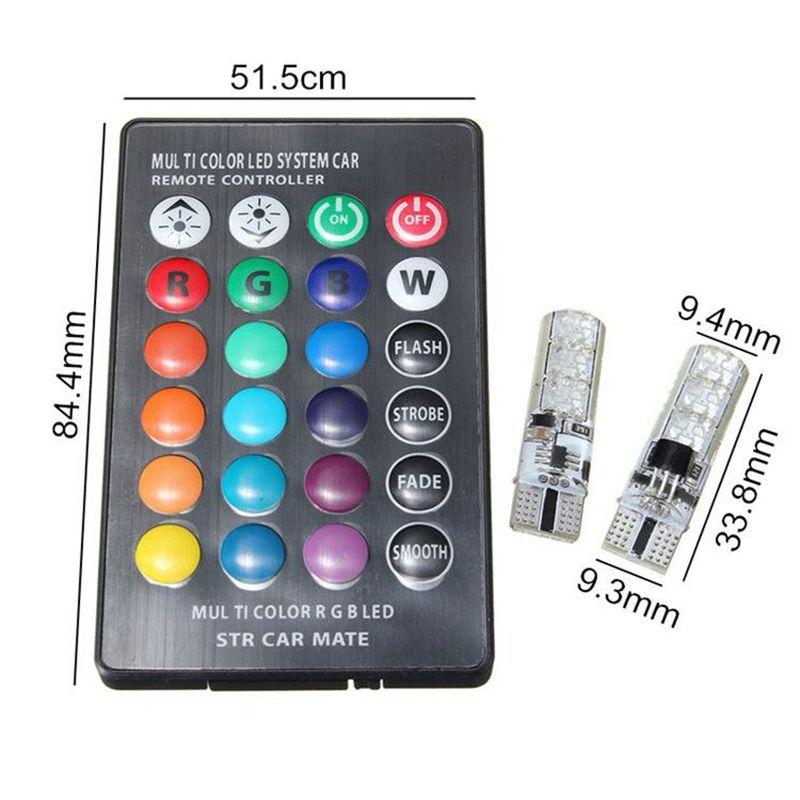 Icke gamla LED RGB T10 lampa lampor till din bil. Bytt färg med fjärrkontroll OY-08