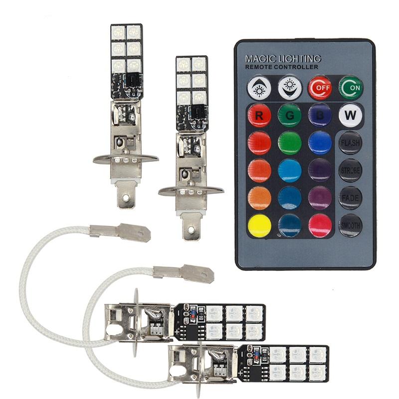 Splitter nya H1 LED RGB lampor lampa till bilen eller MC. Bytt färg med KN-86