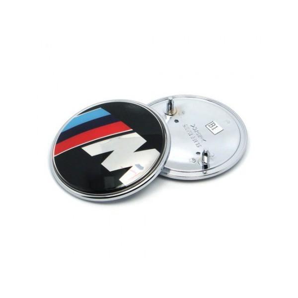 m logo badge emblem till motorhuv och baklucka 74 82mm. Black Bedroom Furniture Sets. Home Design Ideas
