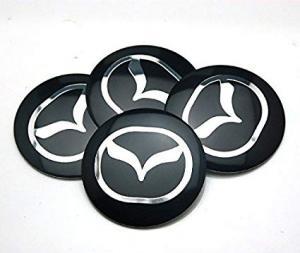 Mazda hjulnav emblem i svart 56 mm 4-pack