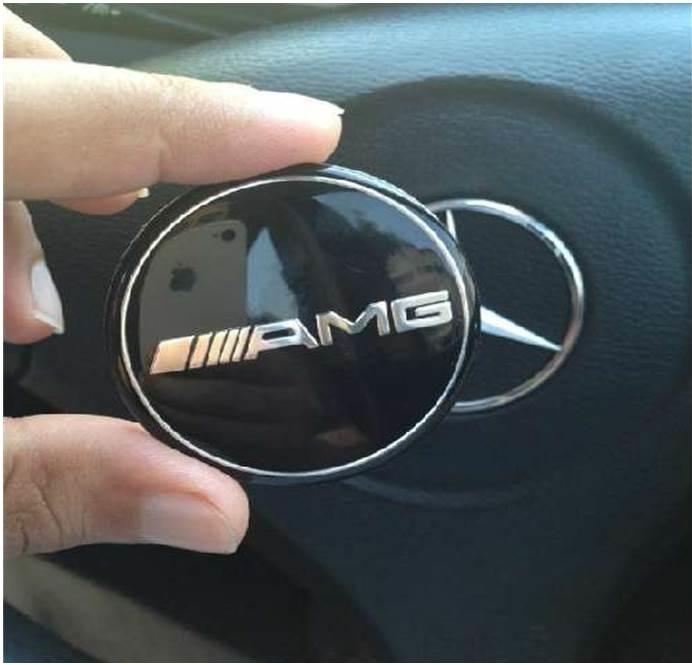 Mercedes AMG emblem till ratten 52 mm