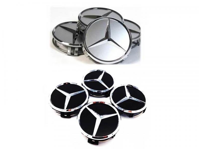 Mercedes Benz centrumkåpor 60mm svart, silver