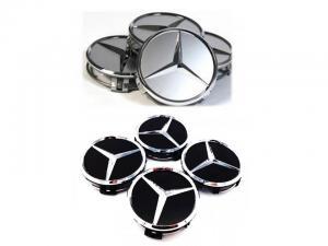 Mercedes MB centrumkåpor 75 mm svart/silver