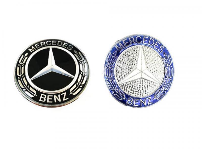 Mercedes emblem till ratten 52 mm blå/svart