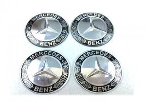 Mercedes hjulnav emblem svart, 56, 60, 65 mm