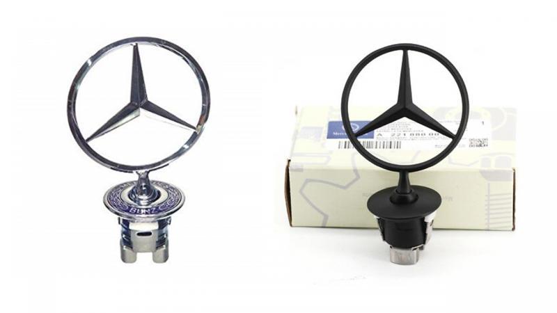Mercedes Benz stjärna logo till huv svart silver