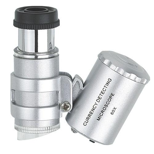 Mini mikroskop, lupp med 60x förstoring, LED UV