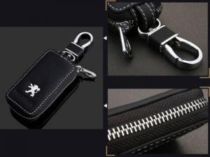 Peugeot logo läder etui väska till bilnyckel