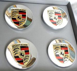 Porsche centrumkåpor i krom färg till fälgarna 75 mm