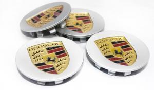 Porsche logo centrumkåpor (silver) 65-75 mm