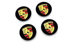 Porsche logo centrumkåpor till bilen i svart 65-75 mm