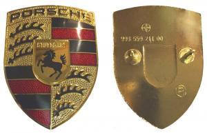 Porsche logo guldfärgad emblem till motorhuv