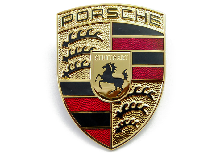 Porsche logo emblem till motorhuv. Guldfärgad märke