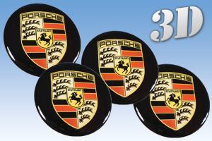 Porsche hjulnav emblem svart, 56, 60, 65 mm